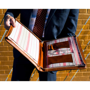 Leather portfolio document organizer folder briefcase 7