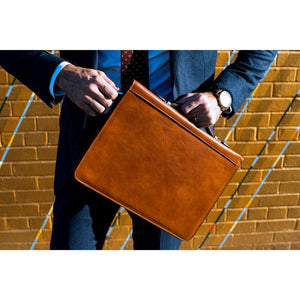 Leather portfolio document organizer folder briefcase 8