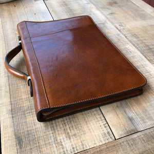 Leather portfolio document organizer folder briefcase 6