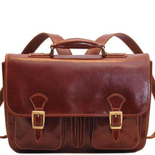 Load image into Gallery viewer, Floto Italian Procida Leather Briefcase Backpack brown