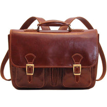 Load image into Gallery viewer, Floto Italian Procida Leather Briefcase Backpack brown 3
