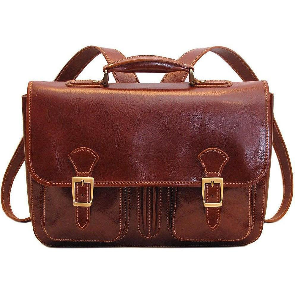 Floto Italian Procida Leather Briefcase Backpack brown 3