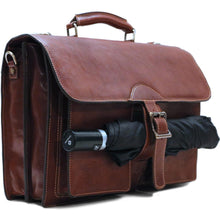 Load image into Gallery viewer, Leather Roller Buckle Briefcase Floto Novella umbrella utility strap
