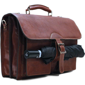 Leather Roller Buckle Briefcase Floto Novella umbrella utility strap