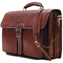 Load image into Gallery viewer, Leather Roller Buckle Briefcase Floto Novella side