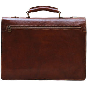 Leather Roller Buckle Briefcase Floto Novella back