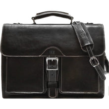 Load image into Gallery viewer, Leather Roller Buckle Briefcase Floto Novella black monogram