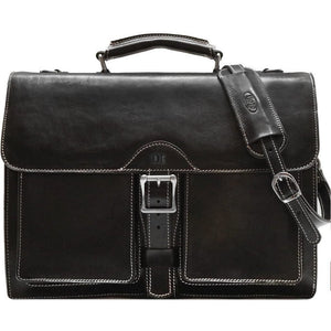 Leather Roller Buckle Briefcase Floto Novella black monogram