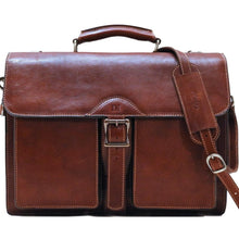 Load image into Gallery viewer, Leather Roller Buckle Briefcase Floto Novella brown monogram