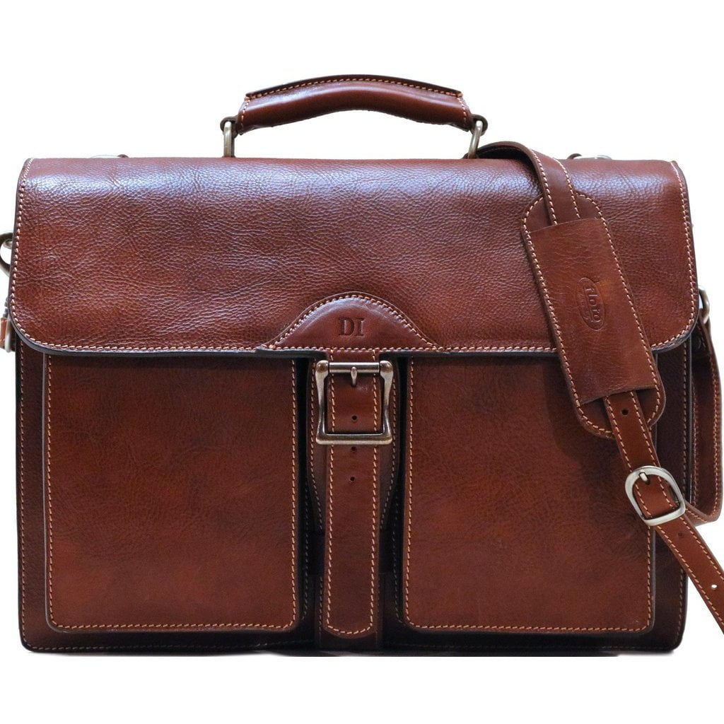 Leather Roller Buckle Briefcase Floto Novella brown monogram