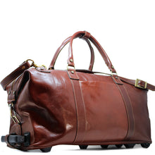 Load image into Gallery viewer, Floto Italian Leather Capri Trolley Rolling Luggage Carryon Duffle Travel Bag Brown 1