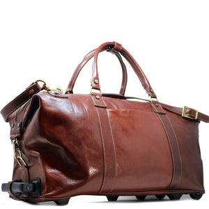 Floto Italian Leather Capri Trolley Rolling Luggage Carryon Duffle Travel Bag Brown 1