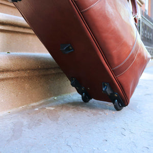 Floto Italian Leather Capri Trolley Rolling Luggage Carryon Duffle Travel Bag Brown 8