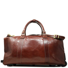Load image into Gallery viewer, Floto Italian Leather Capri Trolley Rolling Luggage Carryon Duffle Travel Bag Brown