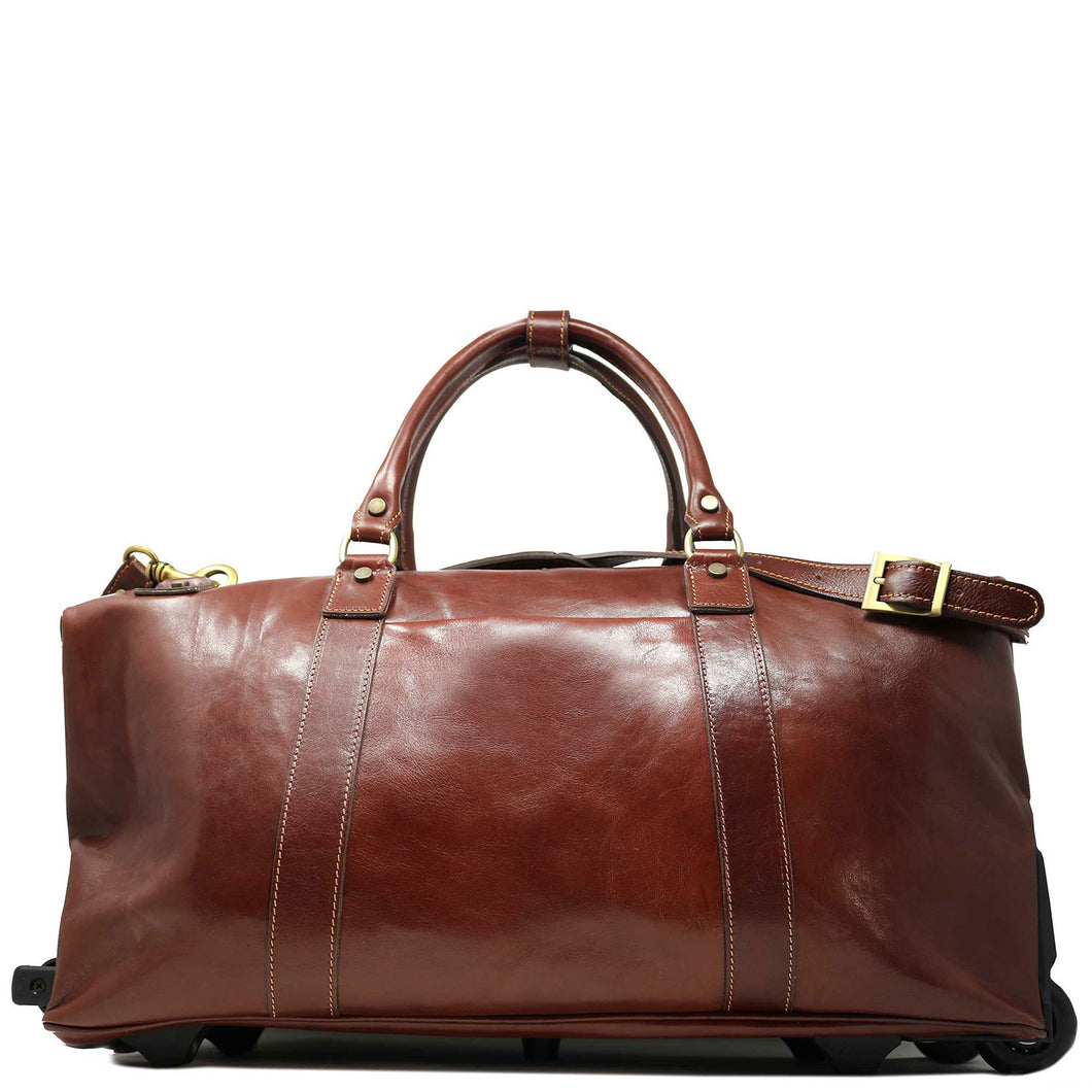 Floto Italian Leather Capri Trolley Rolling Luggage Carryon Duffle Travel Bag Brown