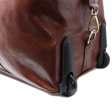 Load image into Gallery viewer, Floto Italian Leather Capri Trolley Rolling Luggage Carryon Duffle Travel Bag Brown 4