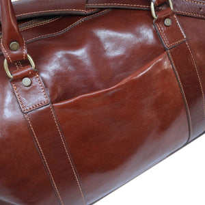 Floto Italian Leather Capri Trolley Rolling Luggage Carryon Duffle Travel Bag Brown 3