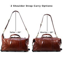Load image into Gallery viewer, Floto Italian Leather Capri Trolley Rolling Luggage Carryon Duffle Travel Bag Brown 7