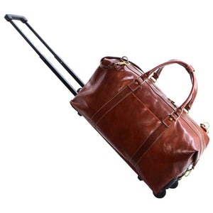 Floto Italian Leather Capri Trolley Rolling Luggage Carryon Duffle Travel Bag Brown 2