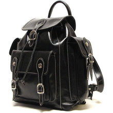 Load image into Gallery viewer, Floto Italian Leather Backpack Roma Satchel black