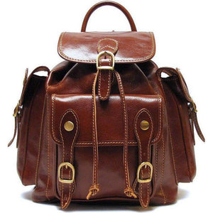 Floto Italian Leather Backpack Roma Satchel brown