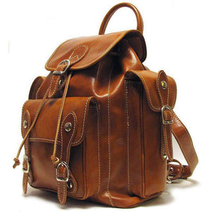 Floto Italian Leather Backpack Roma Satchel olive brown