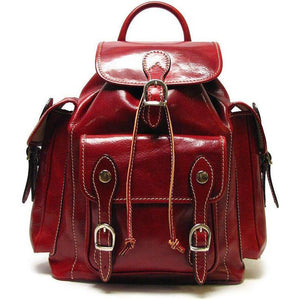 Floto Italian Leather Backpack Roma Satchel red