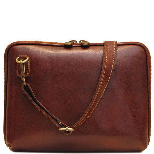 Floto Italian Leather Roma tablet case bag brown 2