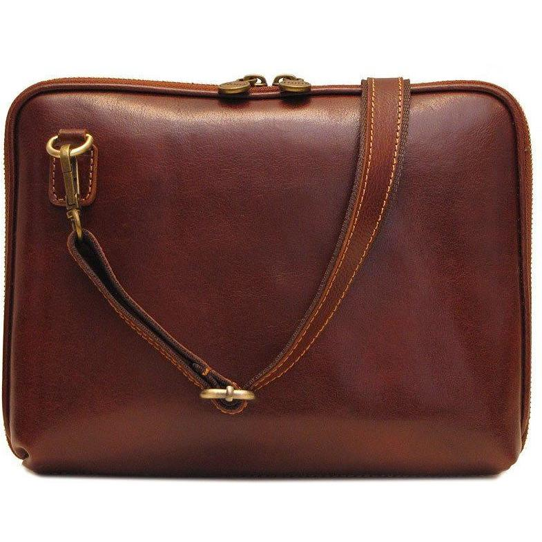 Floto Italian Leather Roma tablet case bag brown 1