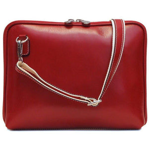 Floto Italian Leather Roma tablet case bag red