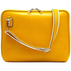 Floto Italian Leather Roma tablet case bag yellow
