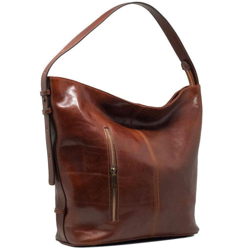 Floto Italian Leather Shoulder Handbag Tote Bag Sardinia brown