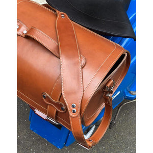 Leather Motorcycle Scooter Top Case Bag Brown top