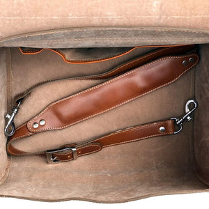 Leather Motorcycle Scooter Top Case Bag Brown strap