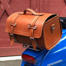 Load image into Gallery viewer, Leather Motorcycle Scooter Top Case Bag Brown