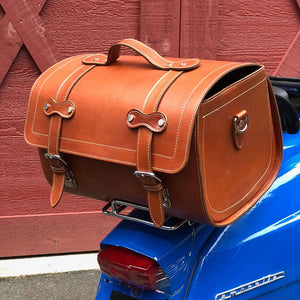 Leather Motorcycle Scooter Top Case Bag Brown