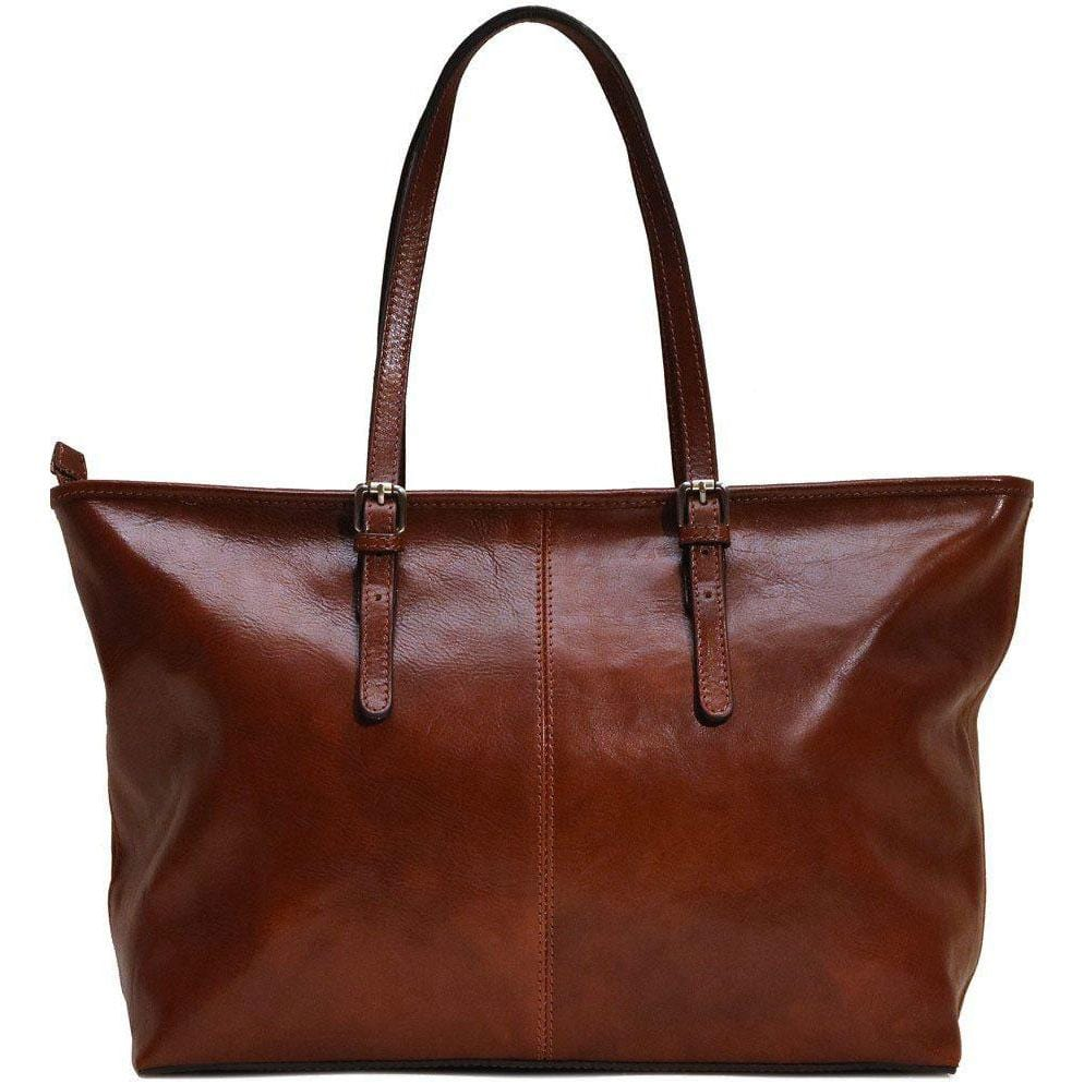 Italian leather shopping tote bag floto firenze brown