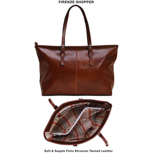 leather shopping tote bag floto firenze brown