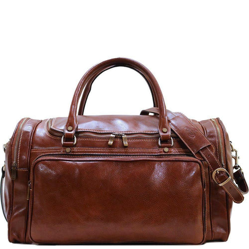 Floto Italian Leather Torino Duffle Bag Carryon Suitcase brown