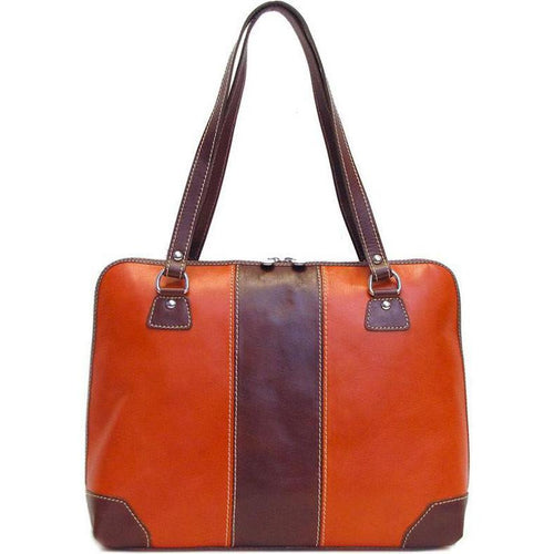 Floto Italian Leather Tote Bag Toscana Women's Shoulder bag orange brown