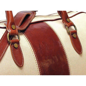 canvas and leather duffle bag floto venezia