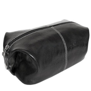 Floto Italian Venezia leather dopp kit toiletry bag black