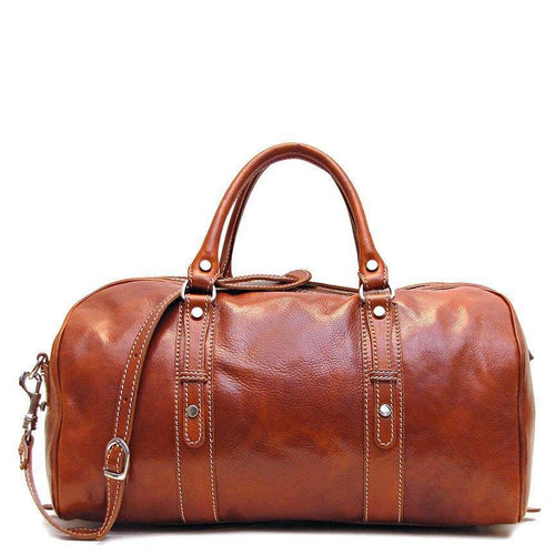 Floto Italian Leather Venezia Piccola Duffle Travel Bag Carryon olive brown