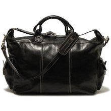 Load image into Gallery viewer, Floto Italian Leather Venezia Travel Tote Bag Duffle Luggage black
