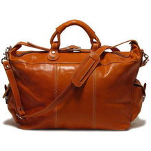 Load image into Gallery viewer, Floto Italian Leather Venezia Travel Tote Bag Duffle Luggage orange