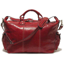 Load image into Gallery viewer, Floto Italian Leather Venezia Travel Tote Bag Duffle Luggage red