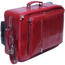 Load image into Gallery viewer, Leather Rolling Luggage Floto Venezia Trolley red side monogram