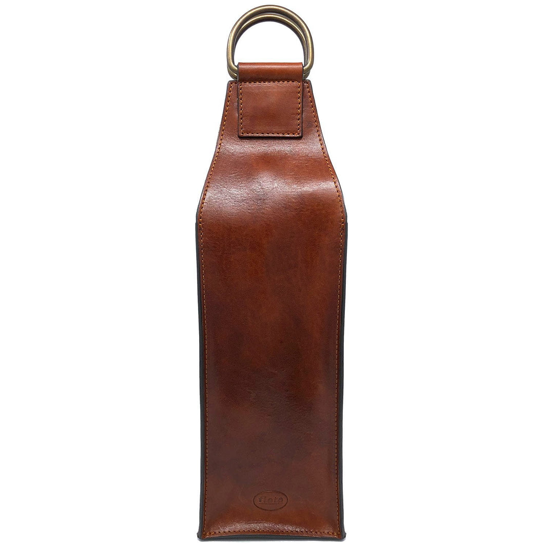 Floto Italian Leather Wine Bottle Sleeve Bag brown