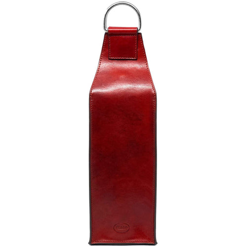 Floto Italian Leather Wine Bottle Sleeve Bag red
