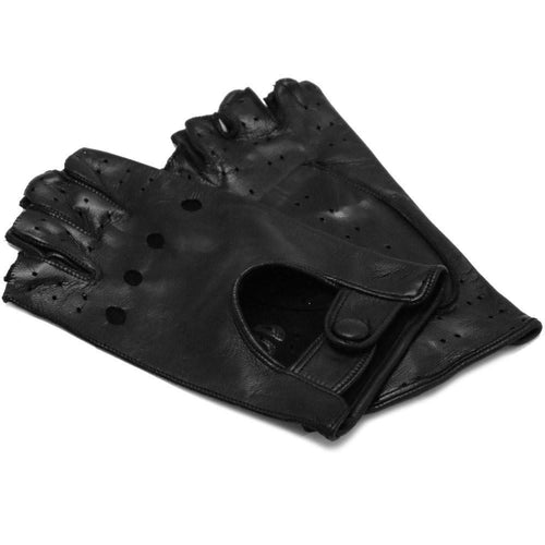 Floto women's black leather fingerless driving gloves
